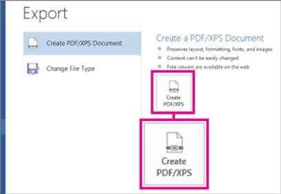 export xps document to pdf