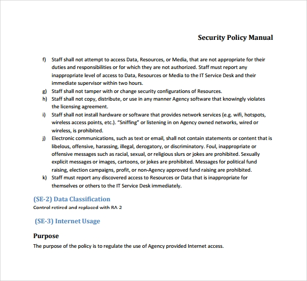 it security policy document template
