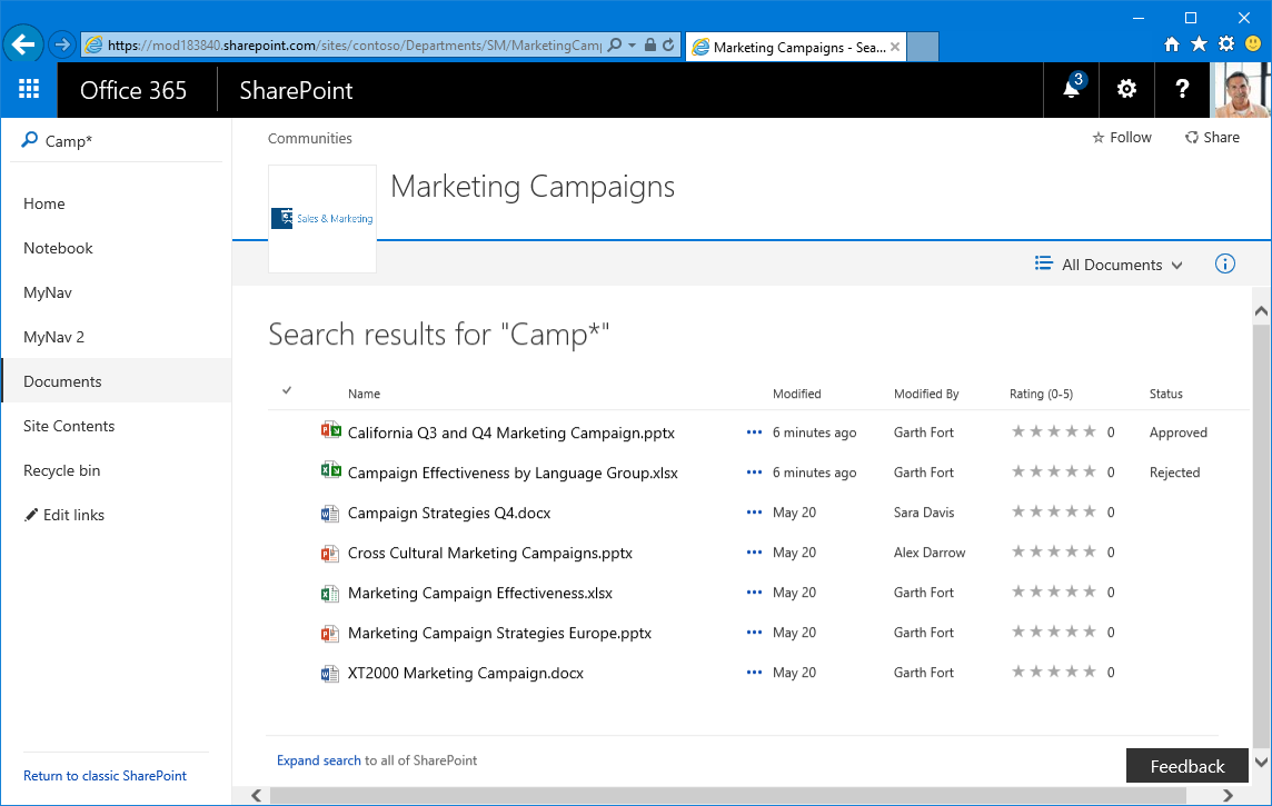 search refiners for document library sharepoint