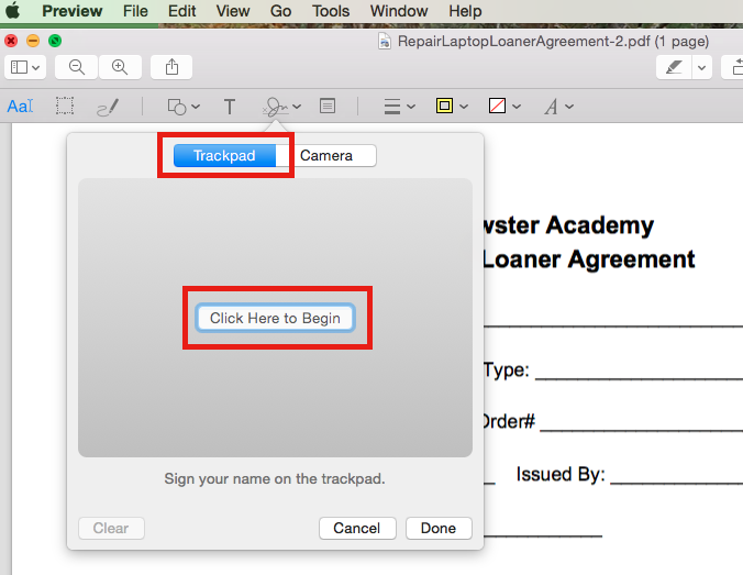 sign your name on word document