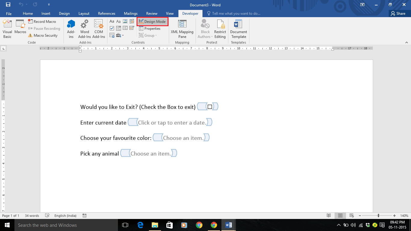make a word document fillable