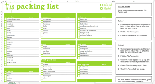 word document shopping check list